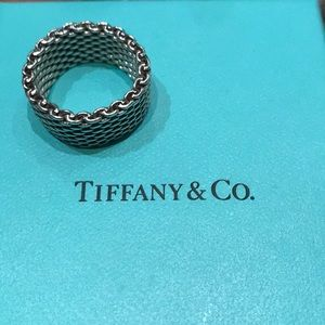 Authentic Tiffany & Co. Silver Mesh Ring Size 8